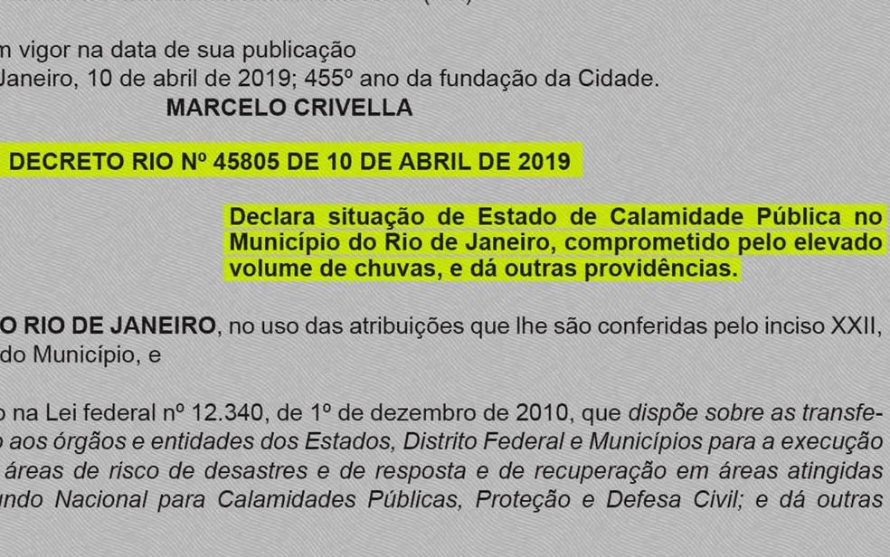 Decreto de estado de calamidade do município do Rio de Janeiro, publicado nesta quinta-feira (11) no Diário Oficial — Foto: Reprodução/GloboNews