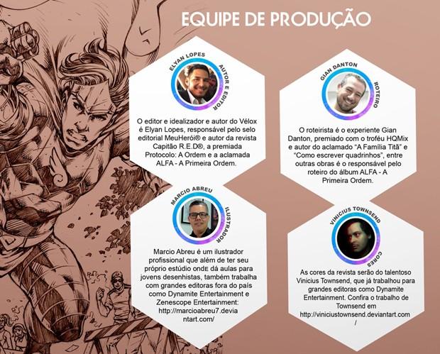 Equipe de Vélox - O Campeão da Liberdade, quadrinho inspirado nos atletas da ginástica olímpica e em Pabllo Vittar (Foto: Divulgação)