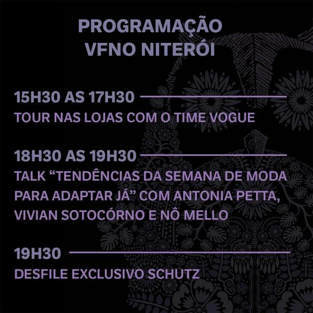 Programação VFNO 2018 no Niterói Shopping (Foto: Divulgação)