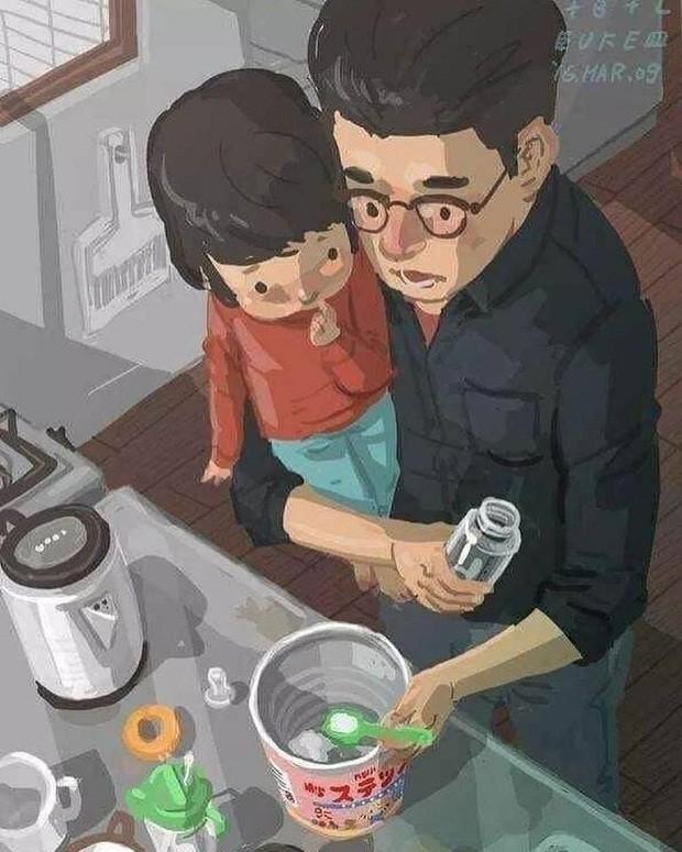 Pai percebe que o leite está acabando, antes de sair correndo para comprar mais (Foto: Reprodução/Facebook)