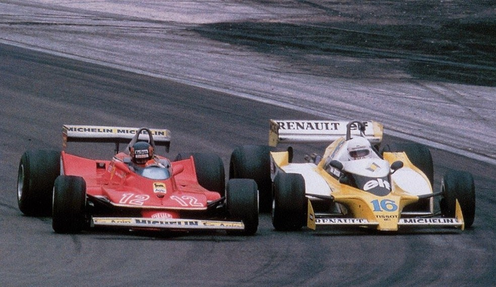 Villeneuve e Arnoux tiveram disputa épica no GP da França de 1979 — Foto: Reprodução