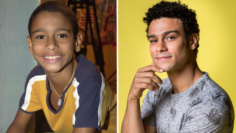 Sérgio Malheiros como Raí, em 2006, e como Diego, em 2019 — Foto: Gianne Carvalho/João Cotta