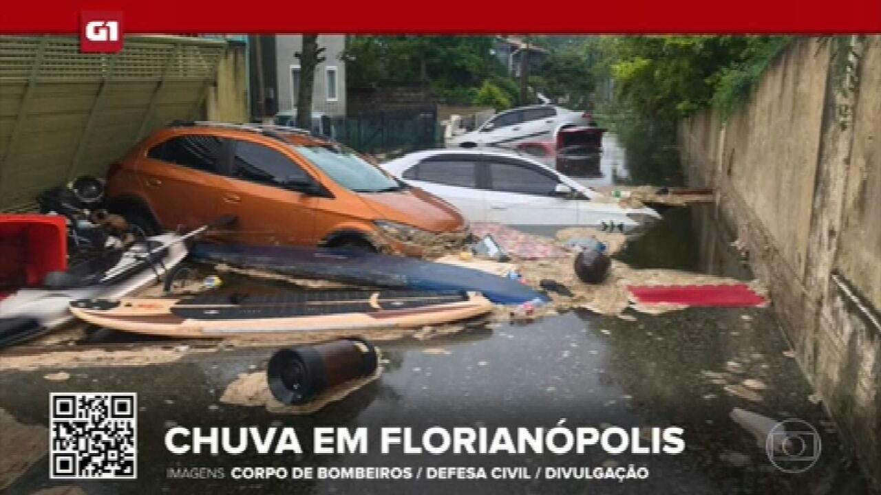 G1 em 1 Minuto: Alagamento atinge casas e arrasta carros na Lagoa da Conceição, em Florianópolis