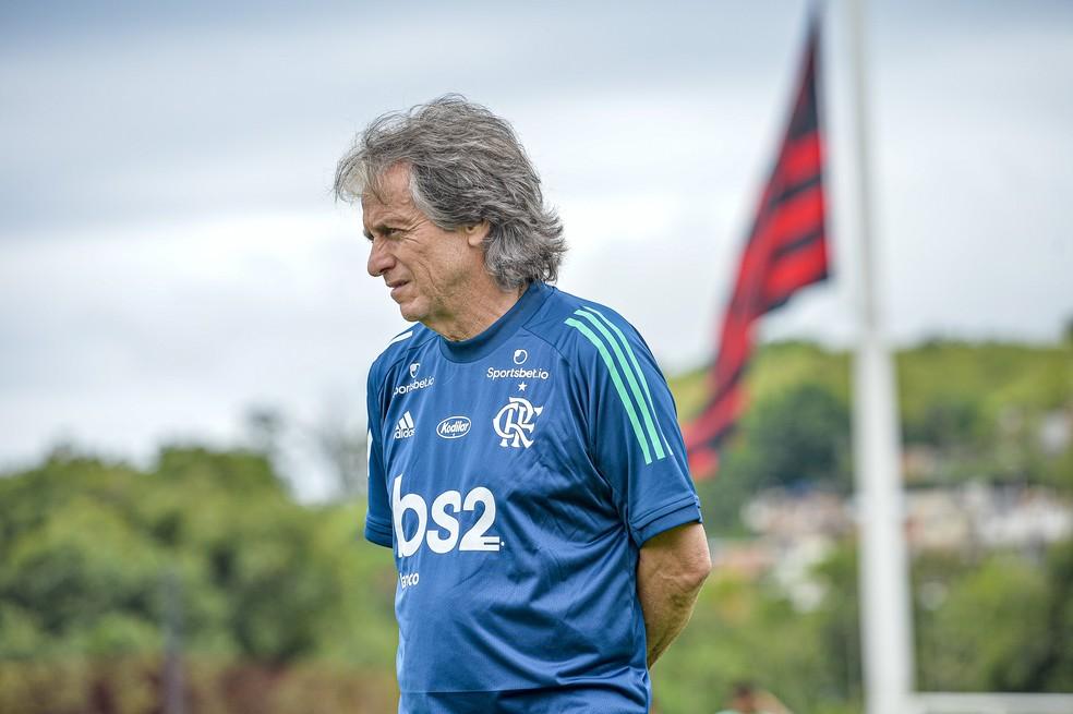 Jorge Jesus no Ninho do Urubu — Foto: Marcelo Cortes/Flamengo