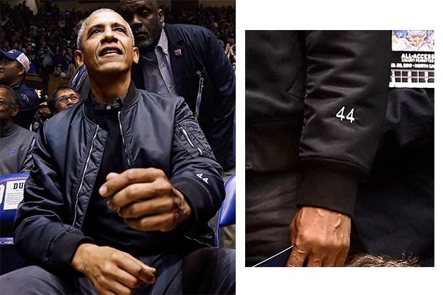 O 44 bordado na manga da jaqueta feita especialmente para Obama (Foto: reprodução / instagram )