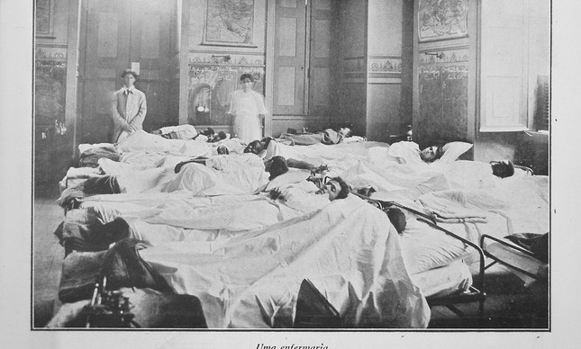 Uma enfermaria com doentes contaminados pela gripe espanhola, em 1918