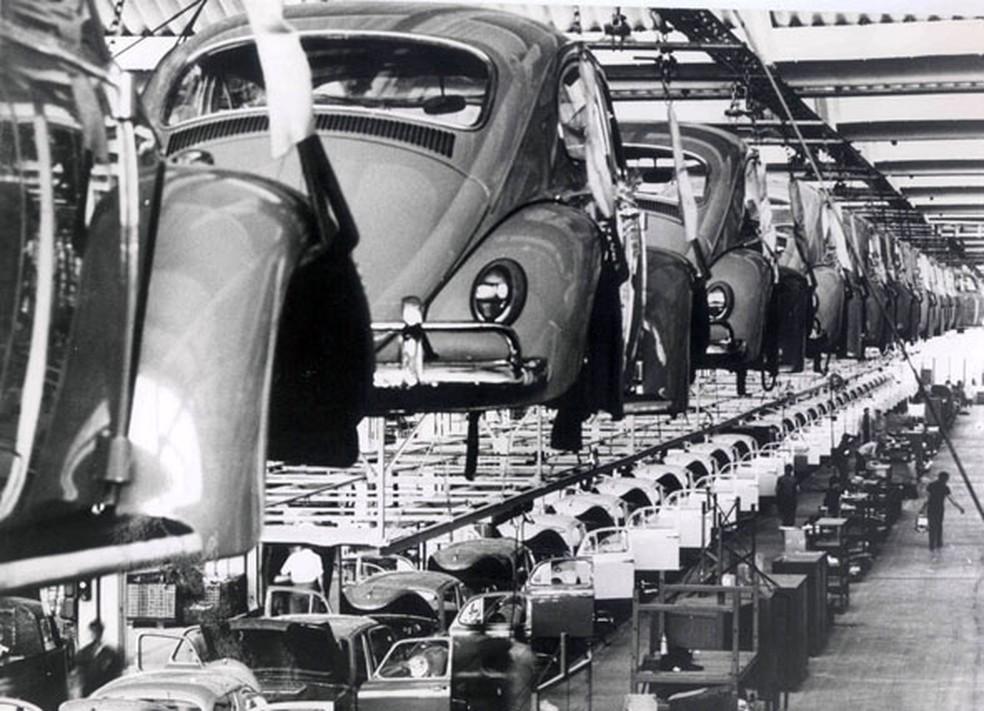 Fábrica da Volkswagen no ABC paulista durante a década de 1970 (Foto: Divulgação)