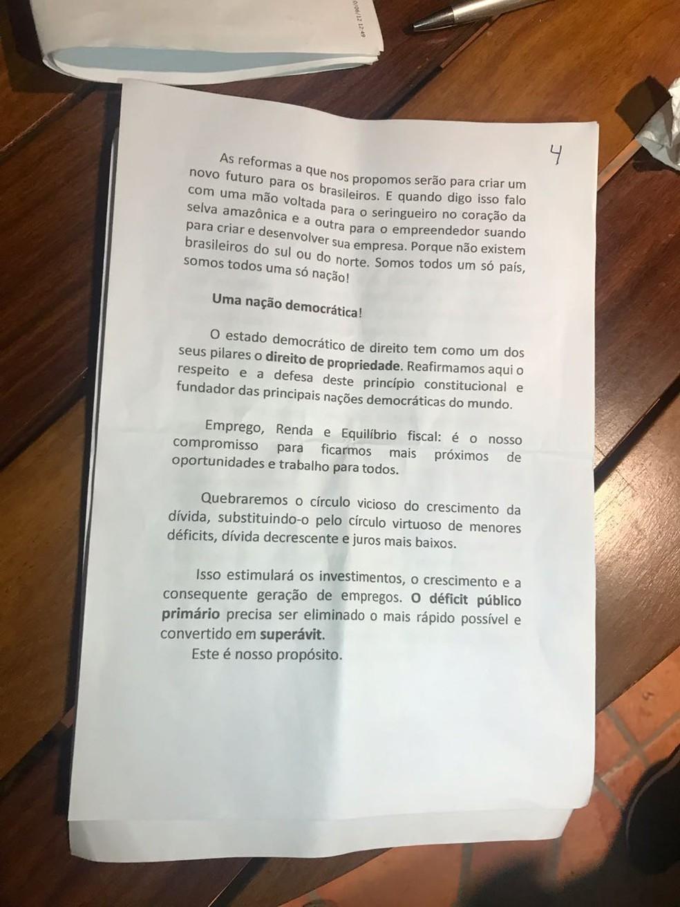 Discurso de Bolsonaro - página 4 — Foto: Reprodução