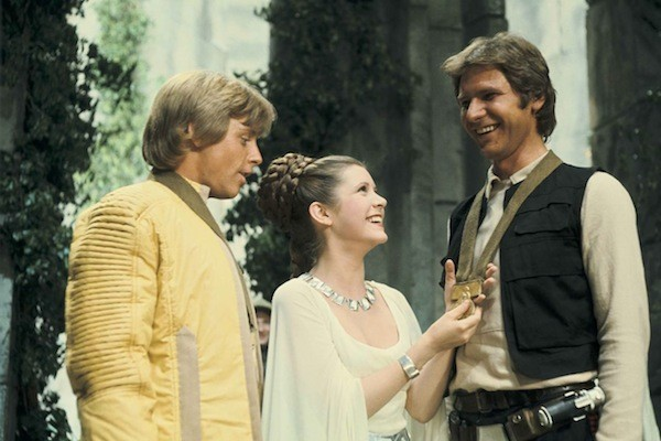 Mark Hamill, Carrie Fisher e Harrison Ford em 'Star Wars' (1977) (Foto: Reprodução)