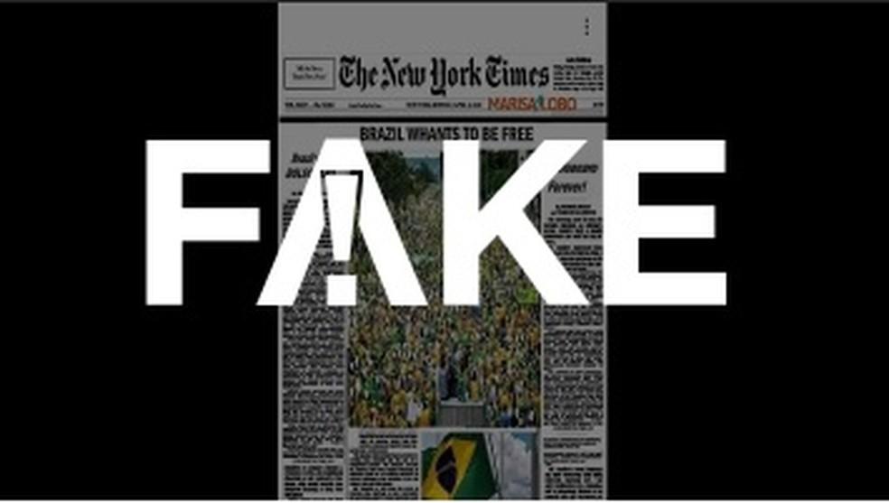 É #FAKE capa do New York Times enaltecendo atos pró-Bolsonaro — Foto: Reprodução