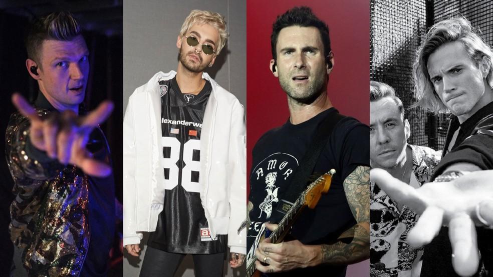 Backstreet Boys, Tokio Hotel, Maroon 5 e McFly farão shows em março no Brasil — Foto: Reprodução/Instagram, Divulgação, Marcos Serra Lima/G1, Divulgação