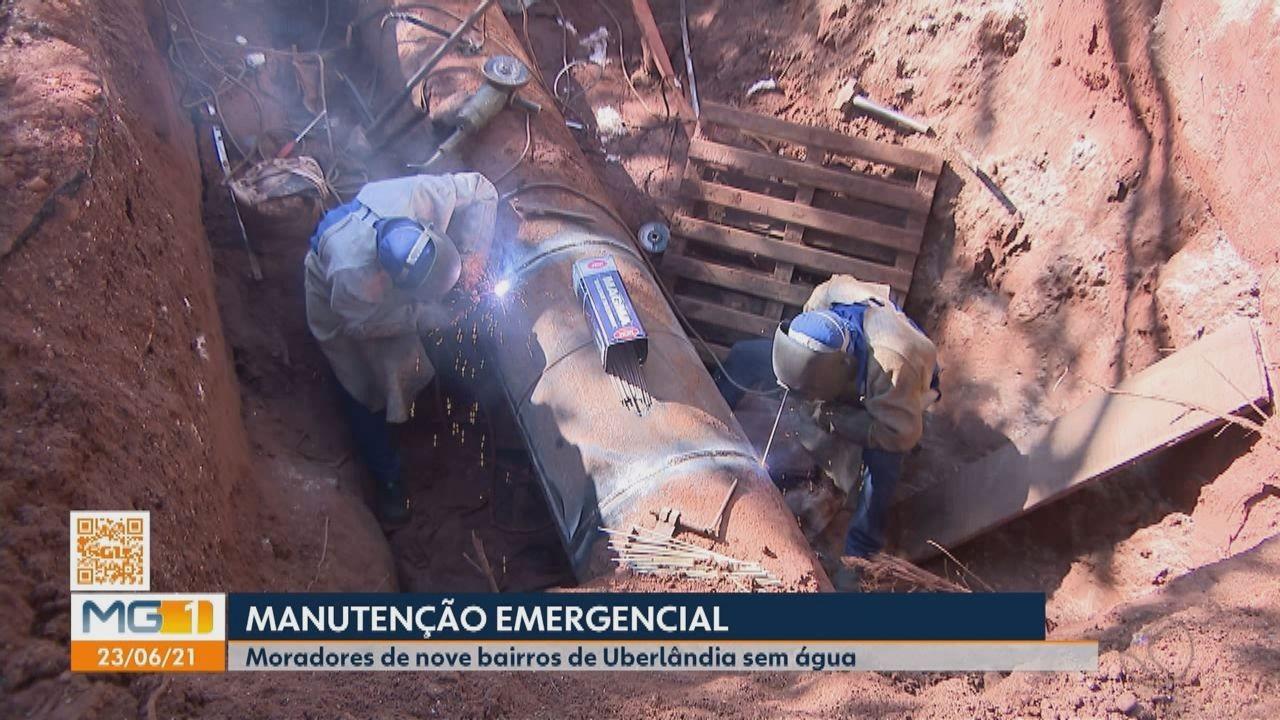 Nove bairros de Uberlândia ficam sem água por causa de manutenção emergencial em adutora
