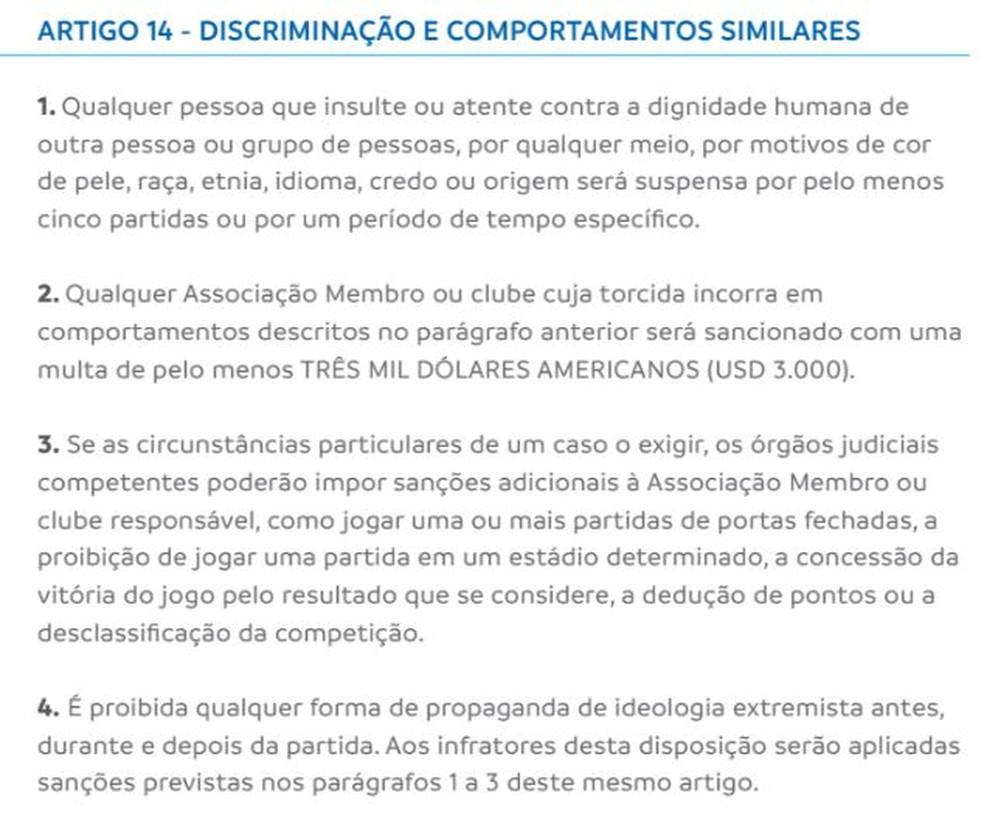 Regulamento da Conmebol citado pela entidade (Foto: Reprodução/Conmebol)