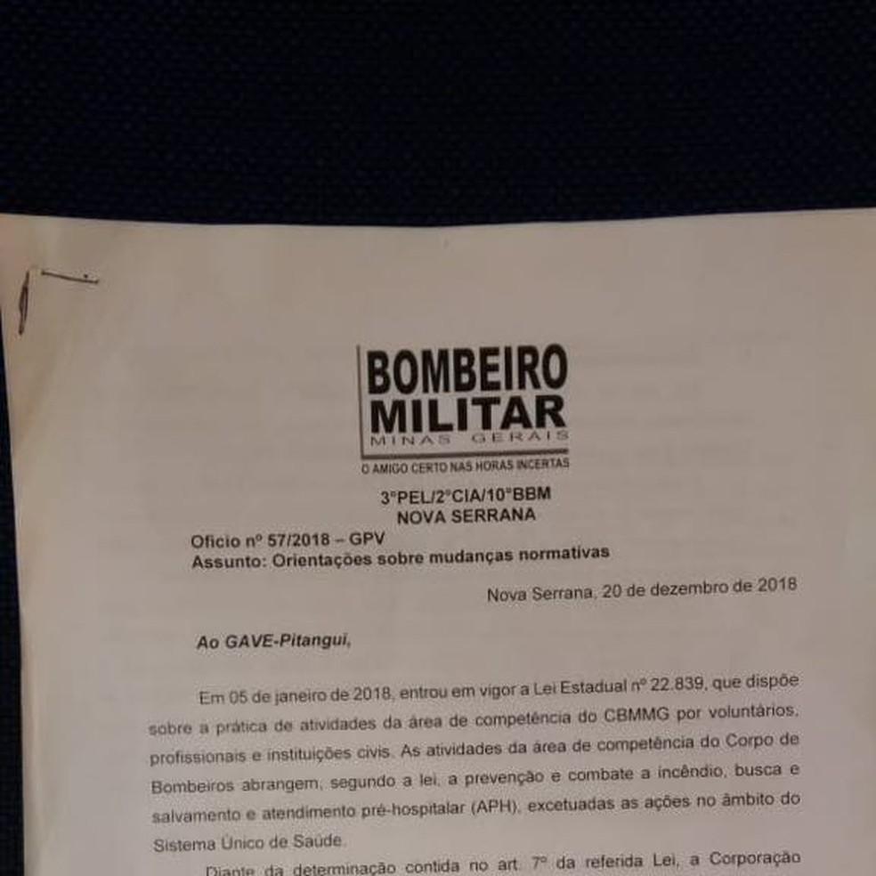 Ofício foi emitido pelo Corpo de Bombeiros de Minas Gerais  — Foto: G3 Resgate/Divulgação