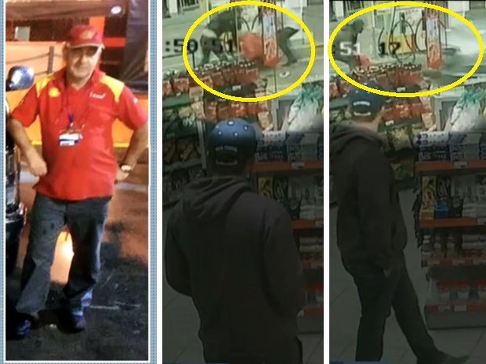 Frentista Agenor Corrêa (na primeira foto da esquerda para a direita) morreu após ser esfaqueado (na segunda foto) e atropelado (na terceira foto) por portugueses por causa de discussão em posto de combustíveis em Osasco em 2017 — Foto: TV Globo / Arquivo / Reprodução
