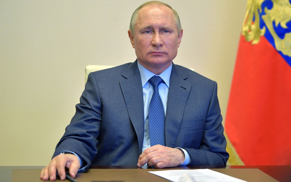 O presidente da Rússia, Vladimir Putin, em foto de 20 de abril — Foto: Alexey Druzhinin/Sputnik/AFP