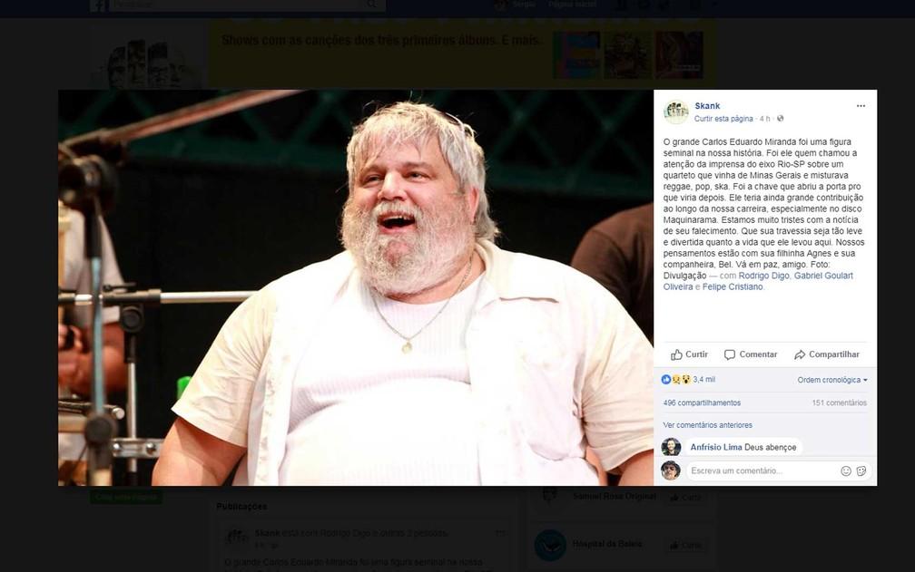 Skank lamenta a morte de Carlos Miranda (Foto: Reprodução / Facebook / Skank)
