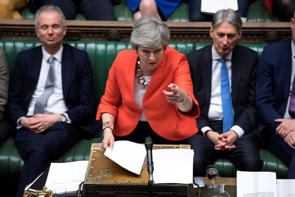 Theresa May fala no Parlamento na sessão em que se votou novo acordo do Brexit — Foto: Jessica Taylor / AFP