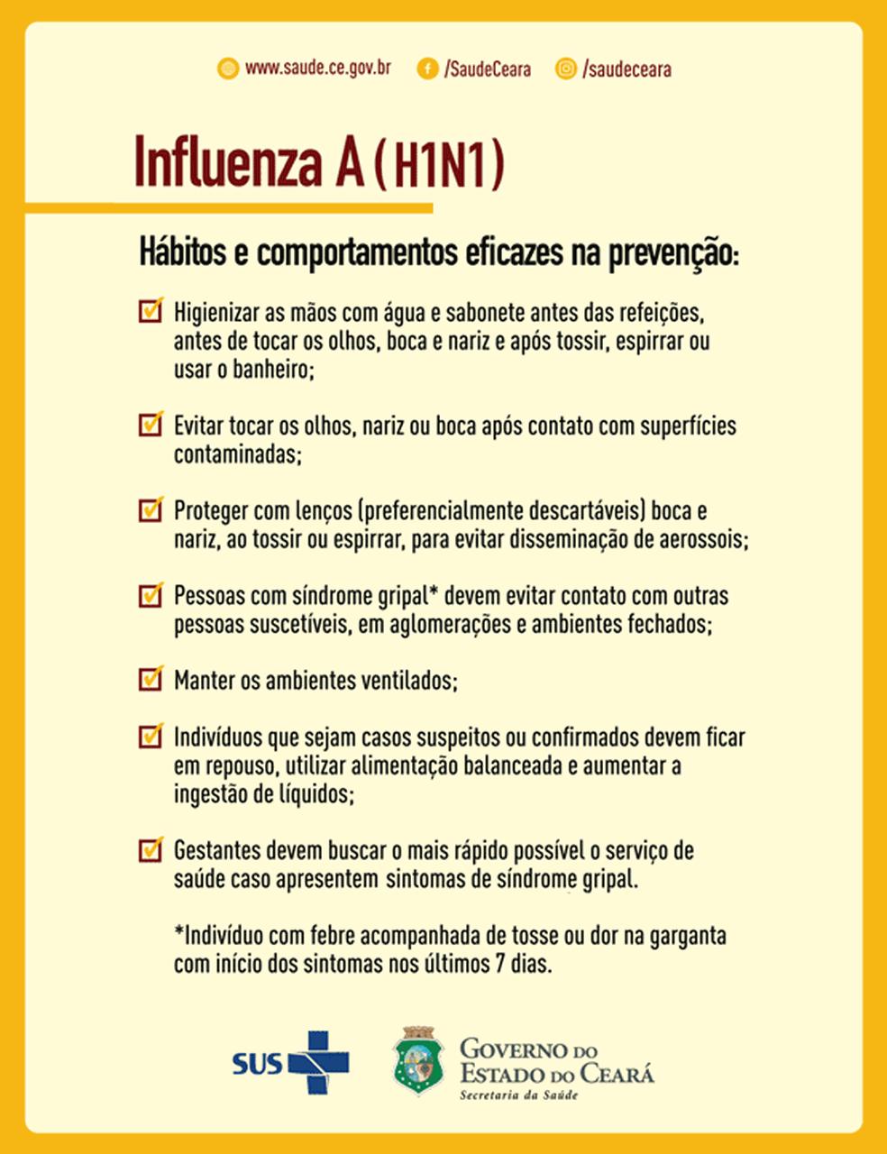 Cuidados para evitar propagação do vírus influenza (Foto: Secretaria de Saúde do Ceará)