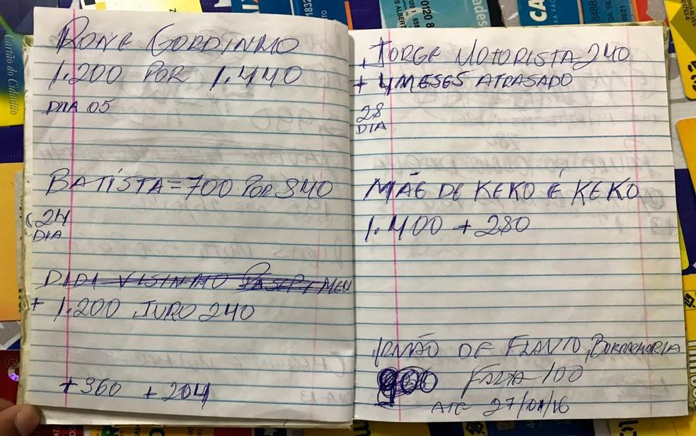 Caderno com anotações de devedores também foi achado (Foto: Divulgação/Polícia Civil)