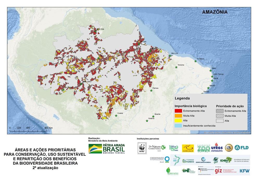 Amazônia é um dos biomas brasileiros representado nos mapas de áreas prioritárias — Foto: Divulgação