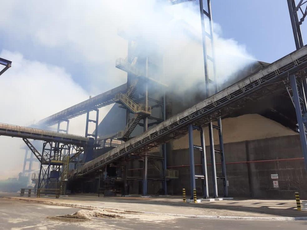 Usina pegou fogo por volta das 10h desta sexta-feira (23) em Lins — Foto: J. Serafim/Divulgação