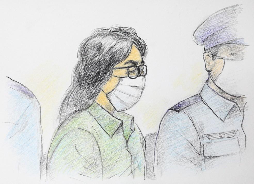 Desenho de setembro de 2020 ilustra Takahiro Shiraishi em um tribunal de Tóquio — Foto: AFP/Masato Yamashita