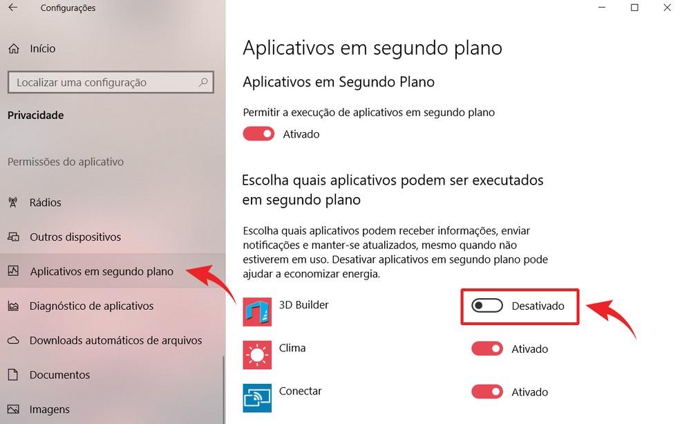 Desabilitar aplicativos que rodam em segundo plano pode melhorar performance do PC — Foto: Reprodução/Ana Letícia Loubak