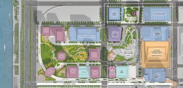 Mapa do empreendimento Hudson Yards. Estima-se que, após concluído, 125 mil pessoas passarão pelo local diariamente (Foto: Divulgação)