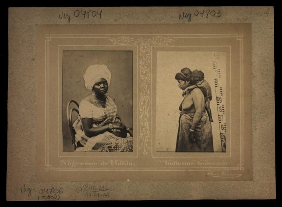 Imagens de estúdio feitas por Marc Ferrez com mulheres escravizadas: escravidão durou tanto tempo no Brasil que chegou a ser retratada pela fotografia — Foto: Biblioteca Nacional
