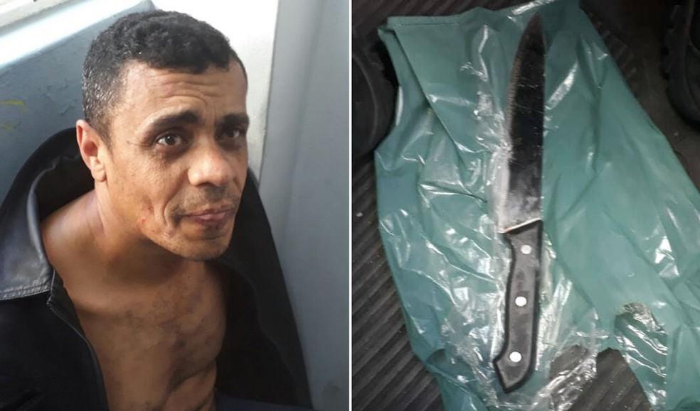 Adelio Bispo de Oliveira, suspeito de ter atacado Bolsonaro, e a faca que teria sido usada por ele (Foto: Divulgação/PM)