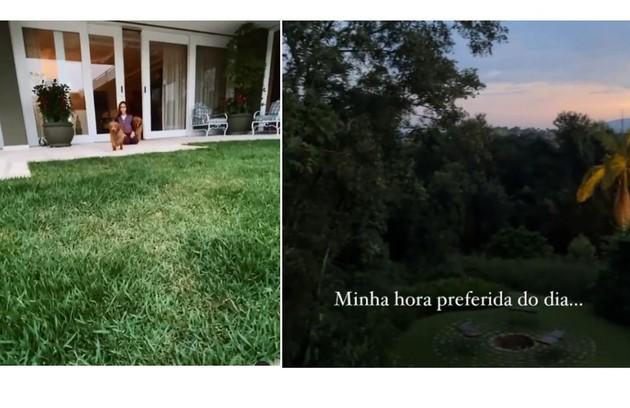 Donatella, filha do casal, mostra a varanda. À direita, a vista da casa (Foto: Reprodução)