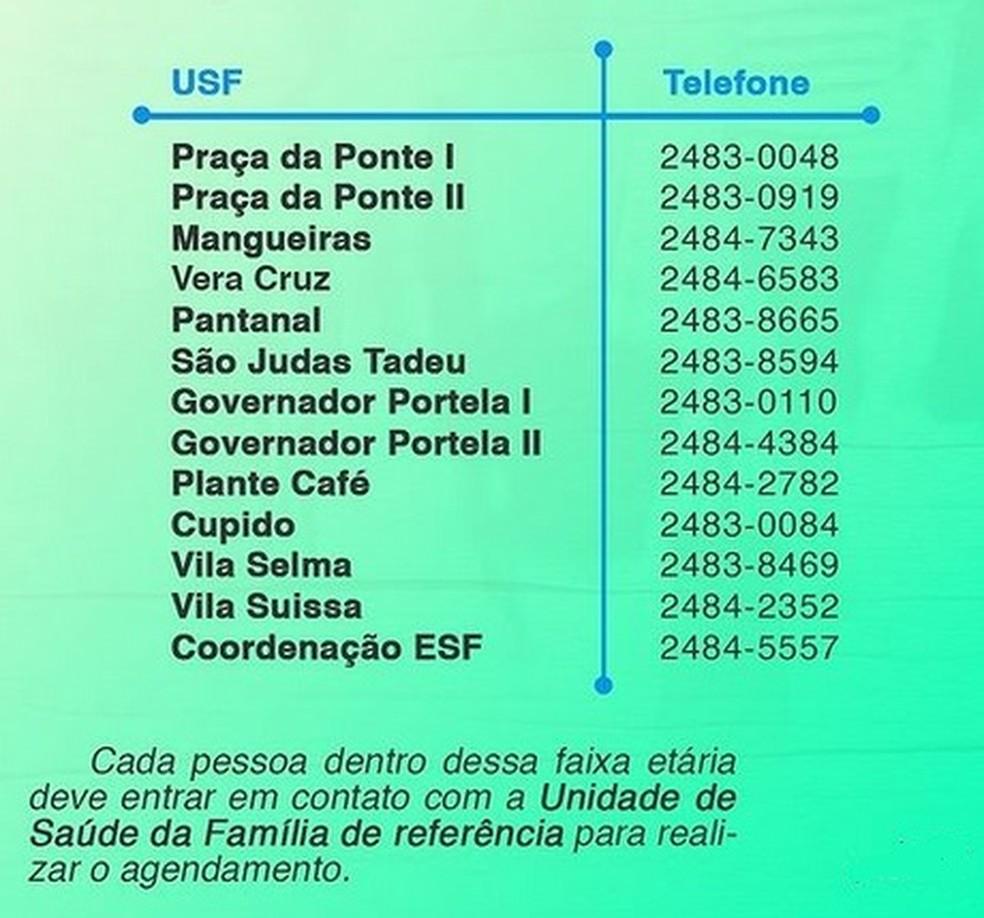 Telefones para agendamento da vacina em Miguel Pereira — Foto: Divulgação/Prefeitura
