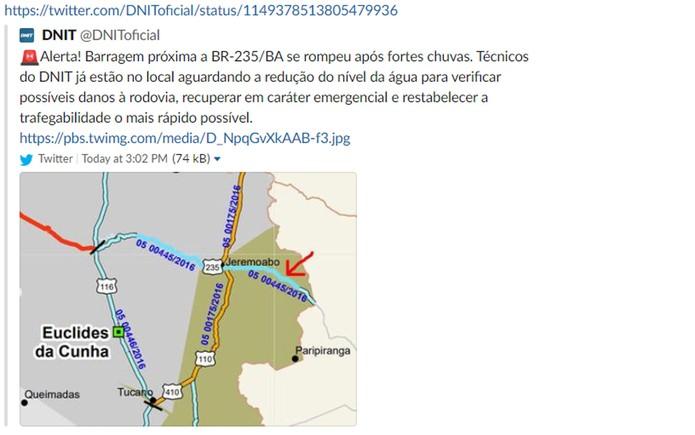 DNIT comunicou transbordamento de barragem na Bahia pelo twitter — Foto: Reprodução/Twitter