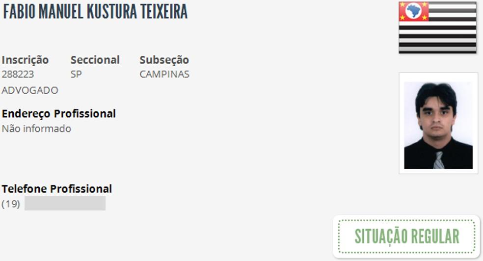 Fábio Manuel Kustura Teixeira atirou na própria cabeça quando PM chegou ao local. — Foto: Reprodução/OAB