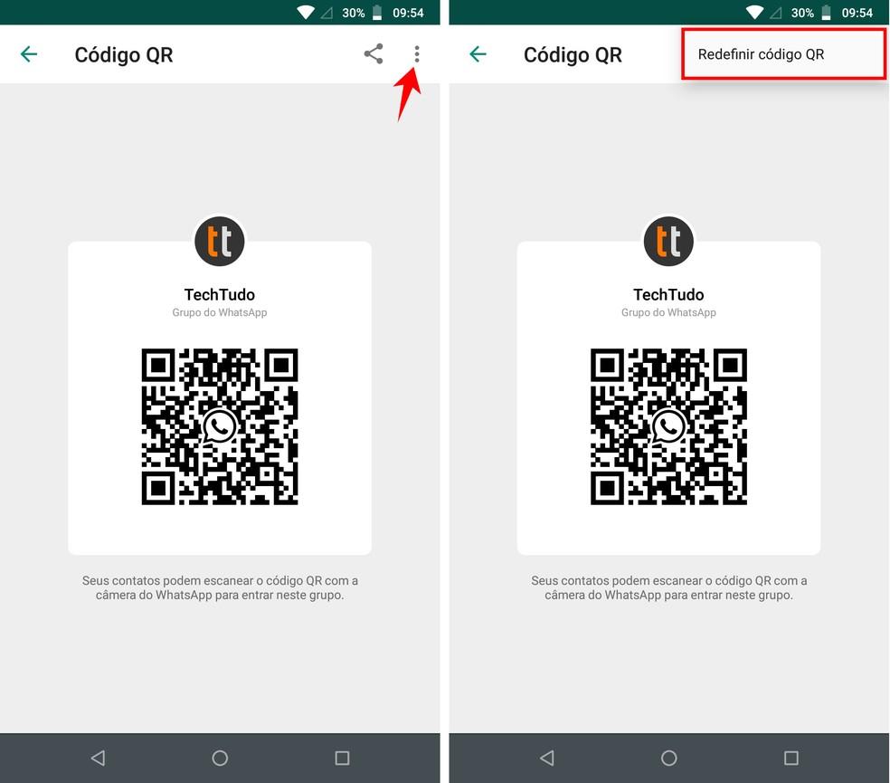 WhatsApp permite mudar QR Codes de grupos para inutilizar códigos enviados no passado — Foto: Reprodução/Rodrigo Fernandes