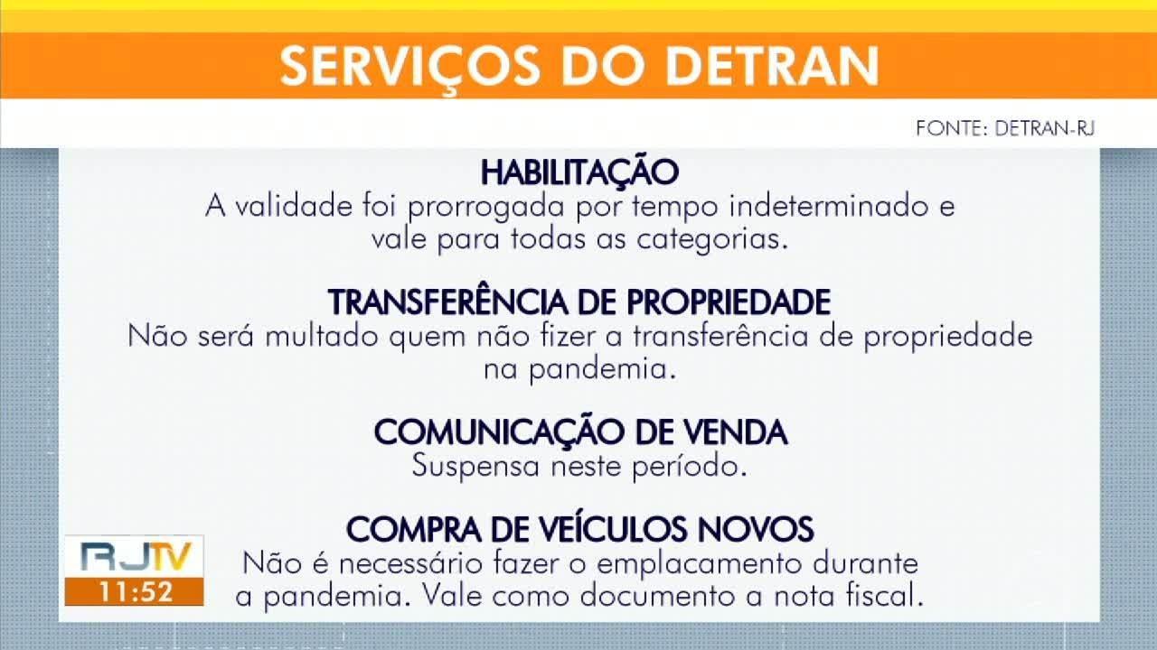 Detran suspende prazos para renovação de CNH e transferência de veículos