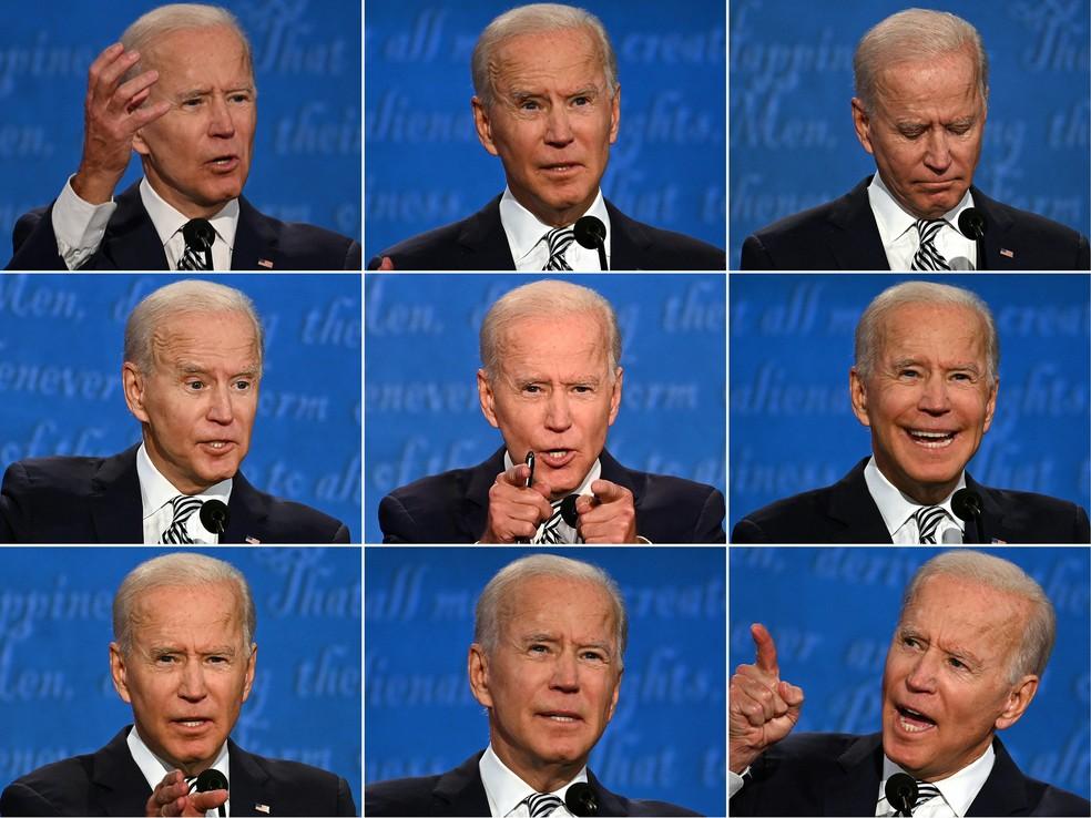 Combinação de fotos mostra Joe Biden durante o primeiro debate presidencial com Donald Trump, em Cleveland, Ohio, em 29 de setembro — Foto: Jim Watson/AFP