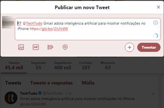 Retweet manual consiste em copiar o texto de um tweet e indicar com um RT (Foto: Reprodução/Twitter)