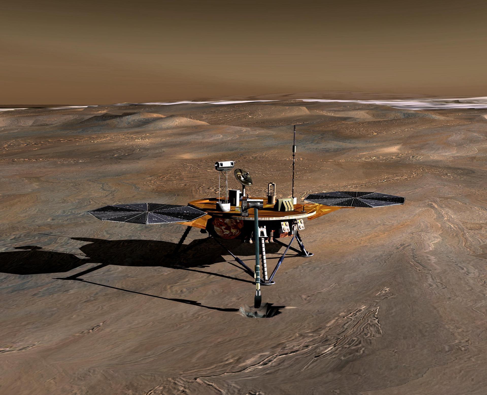Sonda Phoenix da NASA, que buscou por sinais de água em Marte em 2008.  (Foto:  NASA/JPL)