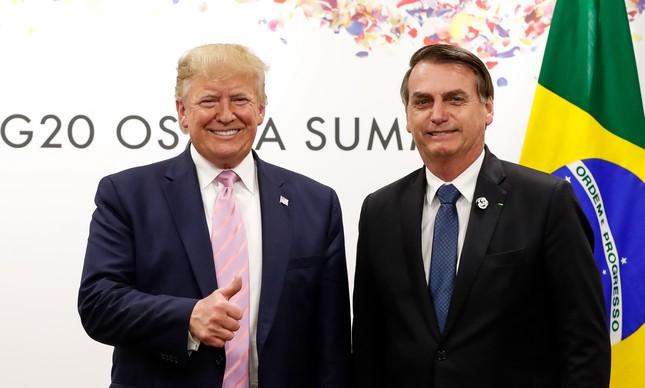 Trump e Bolsonaro juntos no encontro do G20 em junho no Japão: promessa não cumprida