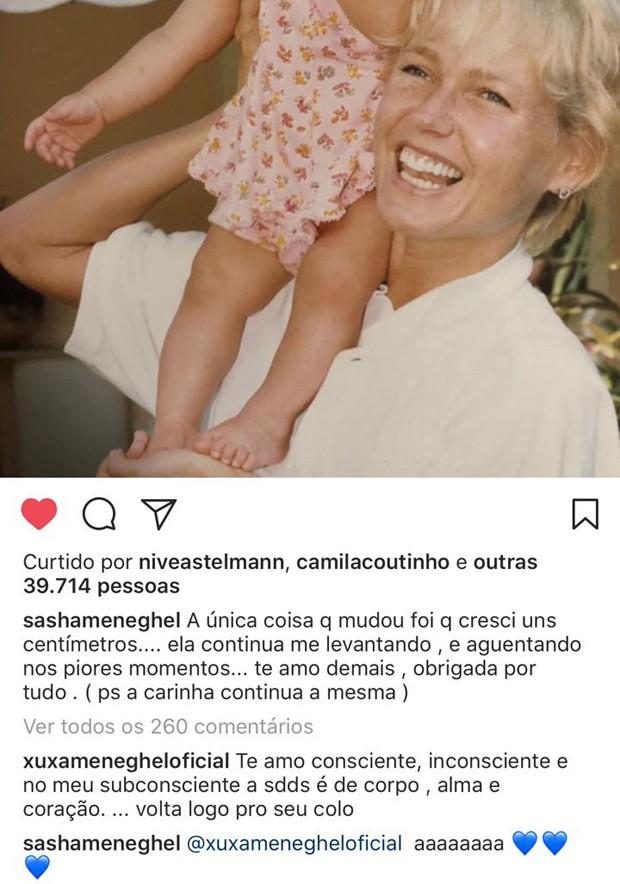Comentário de Xuxa no post de Sasha (Foto: Reprodução/Instagram)