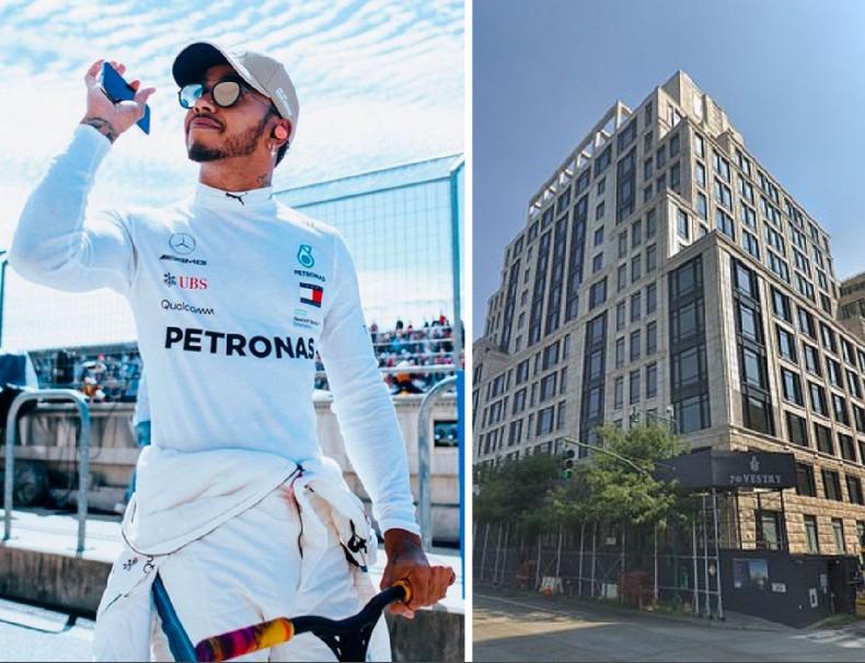 O piloto de Fórmula 1 Lewis Hamilton e o novo apartamento comprado por ele em Nova York (Foto: Instagram/Google Maps)