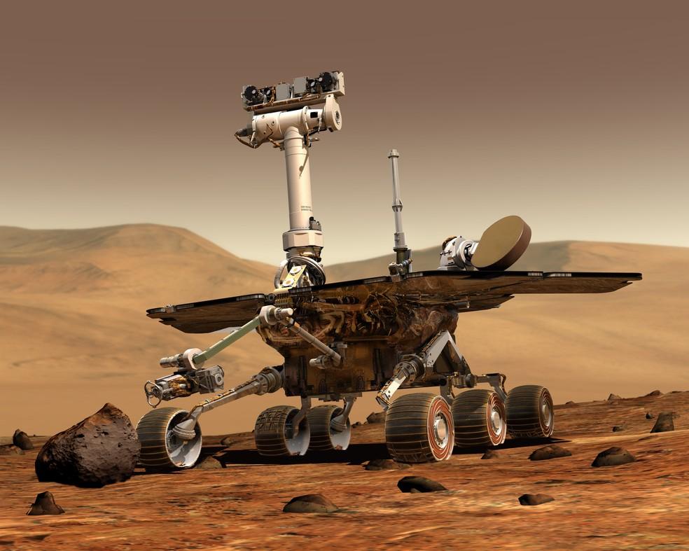 Ilustração mostra o jipe Opportunity em Marte — Foto: Nasa