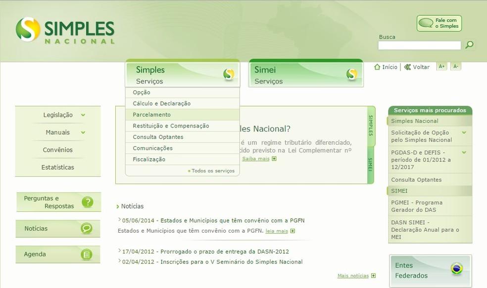Passo a passo para adesão ao Refis das PMEs (Foto: Reprodução/Receita Federal)