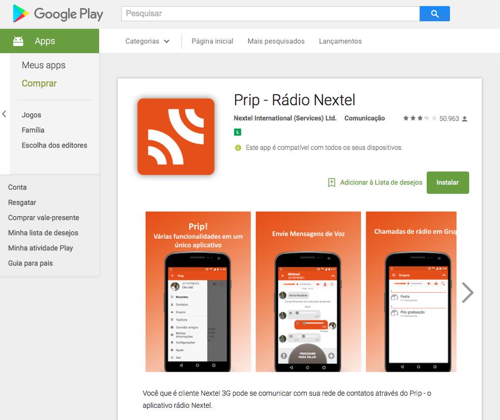 Página do aplicativo Prip na loja oficial do Android (Foto: Reprodução / TechTudo)