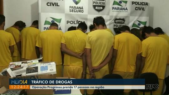 17 são presos em operação de combate a roubos e ao tráfico de drogas no oeste do Paraná