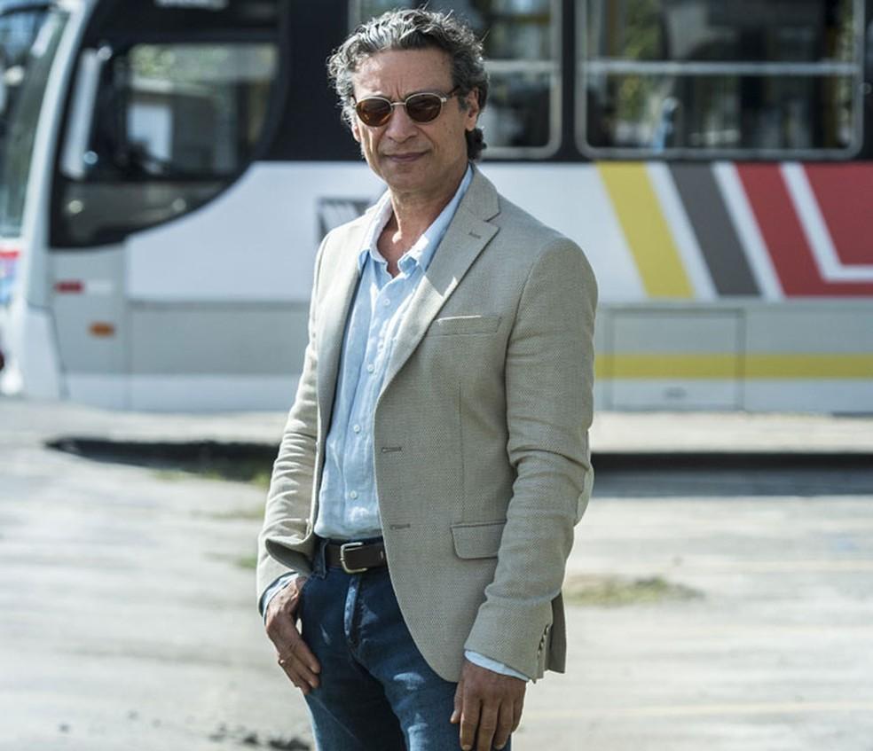 Luiz Carlos Vasconcelos é Miroel Matheus, principal rival dos Ramirez e pai de Amadeu (Marcos Palmeira) — Foto: Globo/Estevam Avellar