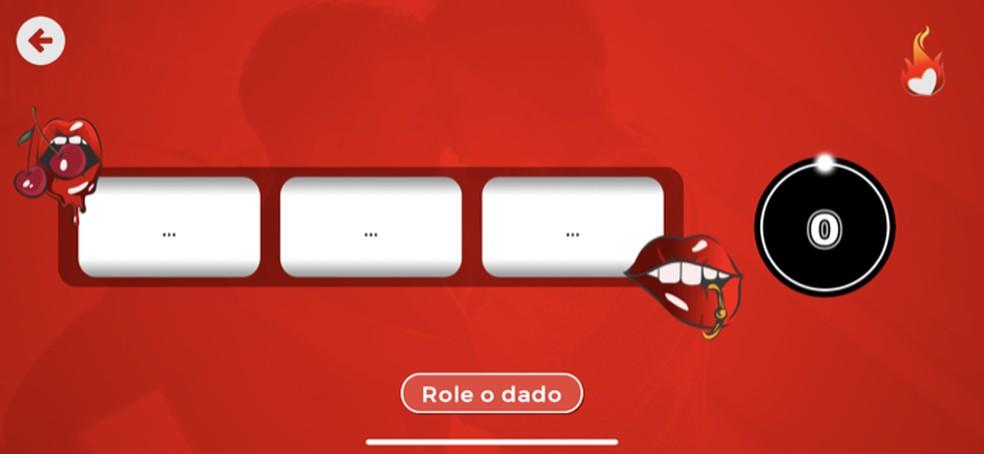 Tela com a opção para iniciar o game Dados Erótico no app Sex Roleta — Foto: Reprodução/Marvin Costa
