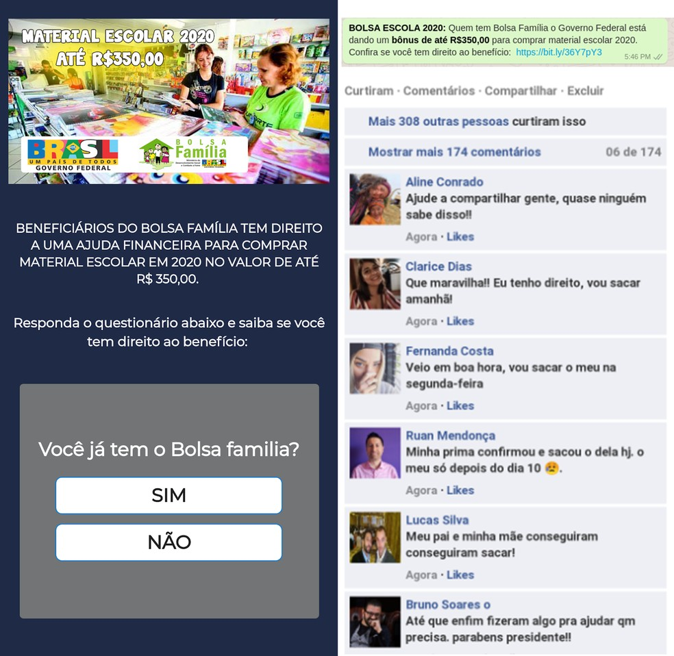 Golpe no WhatsApp menciona falso benefício de R$ 350 do Bolsa Família — Foto: Reprodução/Psafe